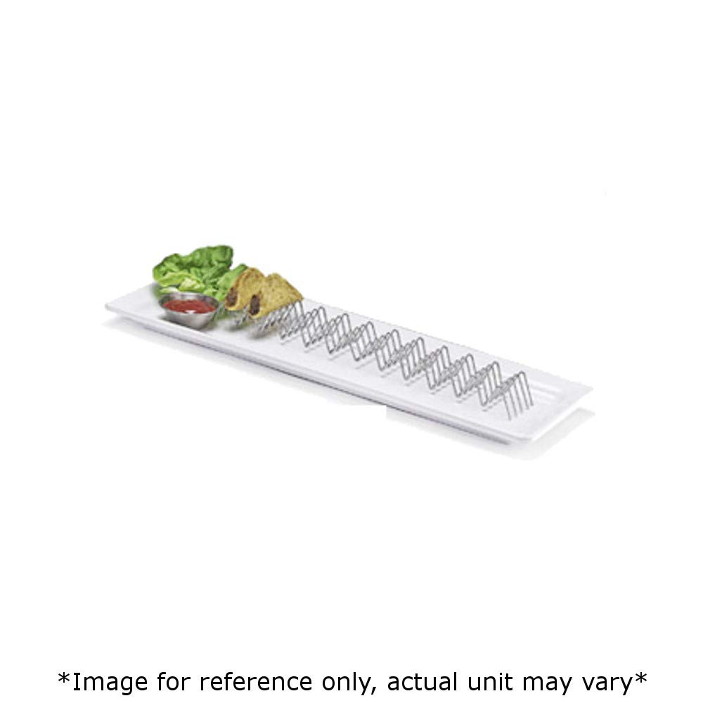 G.E.T. 4-81828 Mini Taco Holder, Stainless Steel, Holds 11-12 Tacos, 15'' x 2'' x 1'', Case of 12