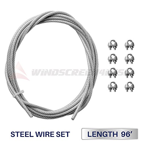 96' Cable (Windscreen4less Shade Sail Wire Rope and 8 Pcs Clips, Vinyl Coated Wire Cable Galvanized Metal Clamp, 3/16-Inch x 96 Feet)