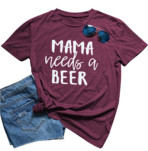 Mama Needs a Beer Shirt Summer Casual Short Sleeve Funny T Shirts for Women
