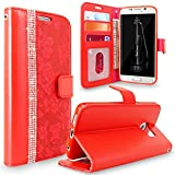 Galaxy S6 Edge Plus Case, Cellularvilla [Diamond Jewel] [Card Slots] Embossed Flower Design Premium PU Leather Wallet Case Flip Cover For Samsung Galaxy S6 Edge Plus / S6 Edge+ (Red Bling)