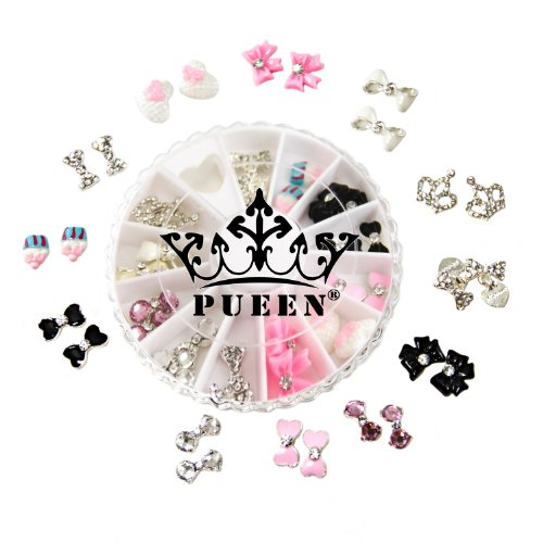 PUEEN 3D Nail Charms Wheel of 24pcs Resin & Alloy Rhinestones Nail Art Decoration Bow Flower DIY for Nails & Cell Phones-BH000348 - Nail Art Charm