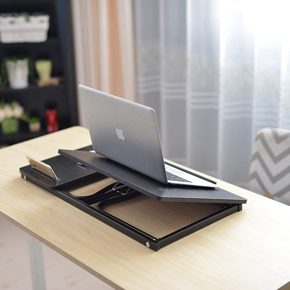 Bed Desk Folding Laptop Table for Bed with Slot Adjustable Angle,Black