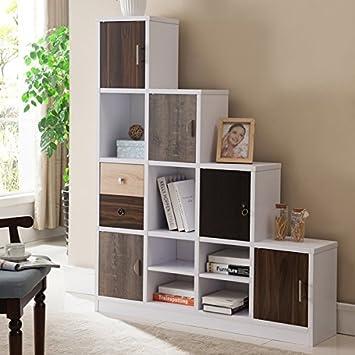 Furniture Of America Arla White Multi Storage Staircase Bookcase/Display  Shelf