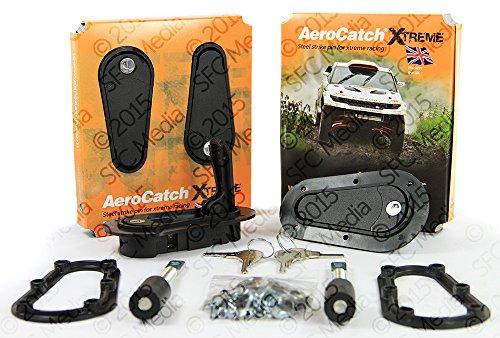 AeroCatch Xtreme Flush Locking Hood Latch Kit - Black - Part # 125-4100