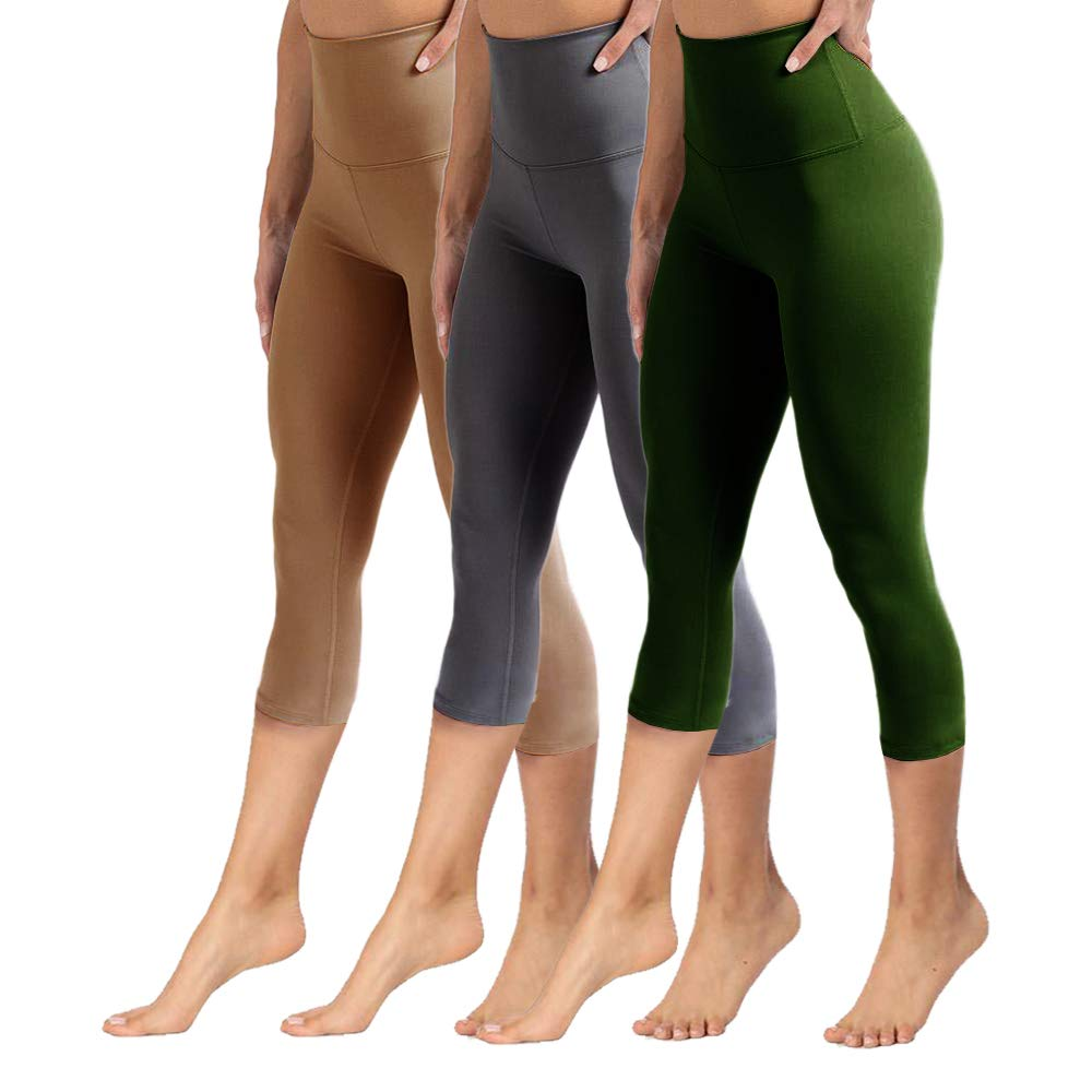 High Waisted Capri Leggings for Women Tummy Control Soft Opaque Slim Pants for Cycling, Yoga, Running (3 Pairs, Dark Light+Mocha+Olive, One Size (US 2-12))
