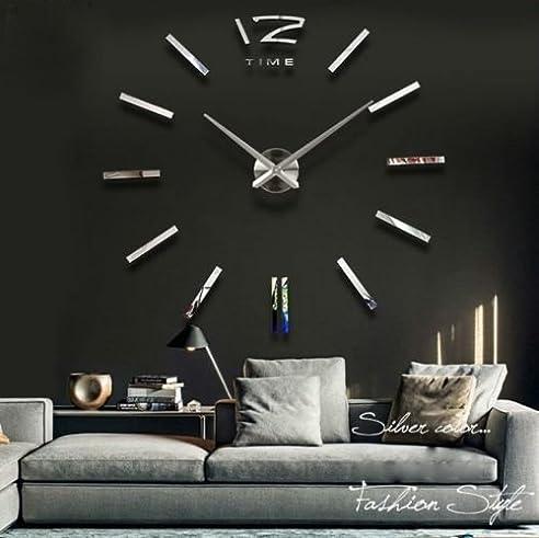 Amazon.De: Silberne Riesen Designer Wanduhr Wohnzimmer Dekoration