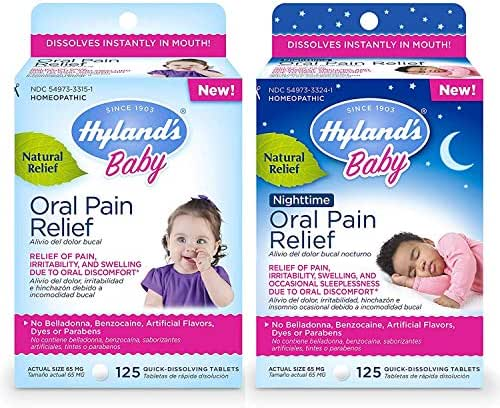 Hyland's Baby Day & Night Oral Pain Relief Tablets Bundle with Chamomilla, Soothing Natural Relief of Oral Discomfort, Irritability, and Swelling, 250 Count