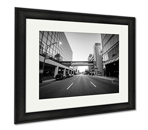 Ashley Framed Prints Modern Buildings And Friendly Avenue In Downtown Greensboro No, Wall Art Home Decoration, Black/White, 26x30 (frame size), Black Frame, - Greensboro Center Friendly