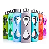 Glass Water Bottle 550ml with Anti-slip Silicone Sleeve, MIU COLOR, Leak Proof Borosilicate BPA-Free Eco-Friendly Hot Cold Drink Flask, Ideal for School Home Office Travel Sports Yoga Gym (Grey)