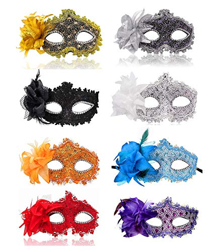 Ru S Masquerade Party Masks Womens Masks Venetian Ball Prom Mardi Gras Halloween Masks (8 Colors) -
