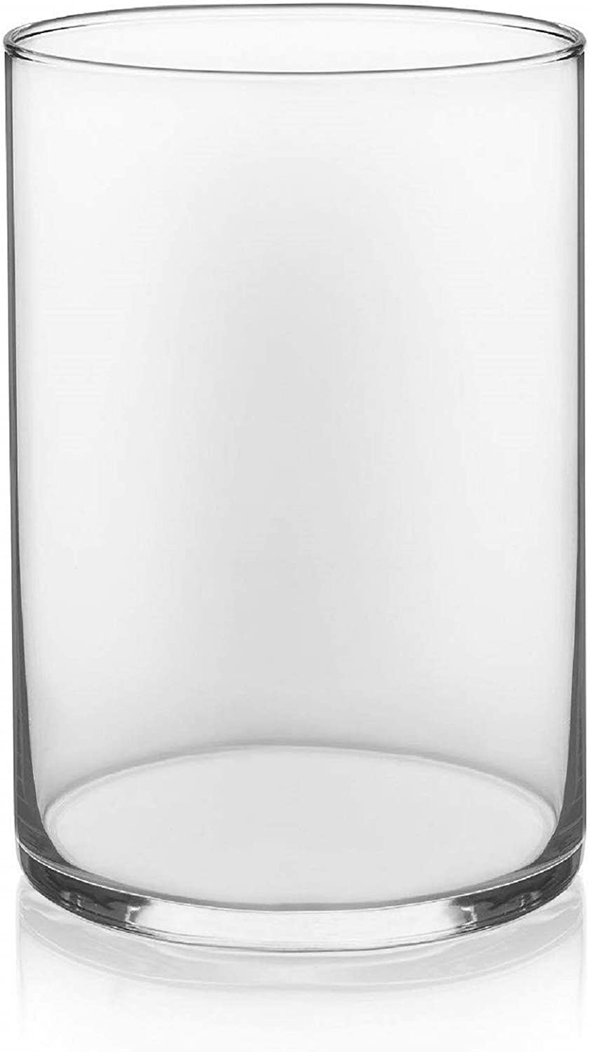 "Floral Supply Online 10"" Tall x 5"" Wide Cylinder Glass Vase for Weddings, Events, Decorating, Arrangements, Flowers, Office, or Home Decor."