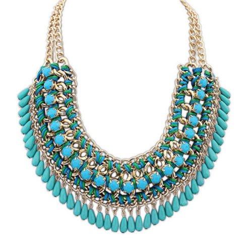 [Women Fashion Jewelry Pendant Chain Crystal Choker Chunky Statement Bib Necklace Blue..] (Difference Between Fashion Jewellery And Costume Jewellery)
