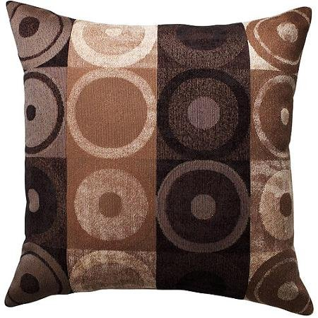 Better Homes and Gardens Circles and Squares High-quality Decorative Pillow, Brown