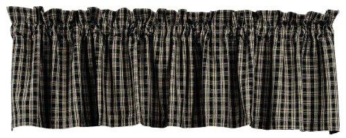 KensingtonRow Lake & Lodge Collection Valances -Columbia Falls Valance - Black Plaid Window Valance - Window (Lodge Curtain Valance)