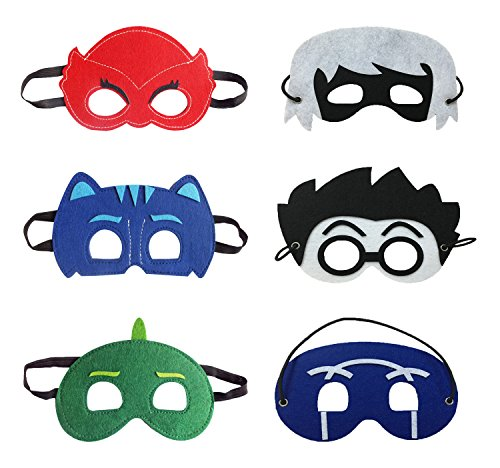 [Masks Costumes Set of 6 Catboy Owlette Gekko Romeo Luna Ninja Mask For Kids] (Pj Mask Costume)