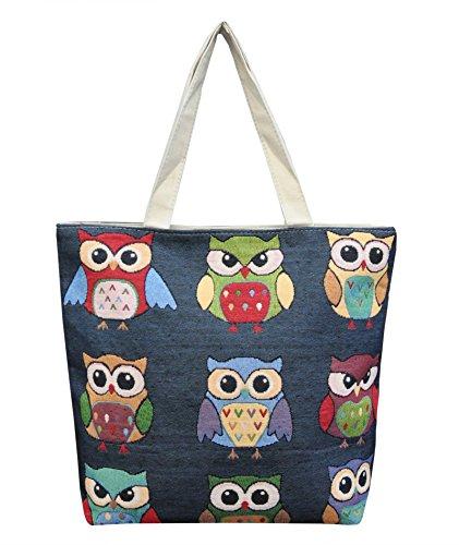 Borsetta borsa da spiaggia, shopping, importata da Tailandia, multicolore, motivi Gufi (42287)