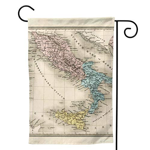 TakeiGagold Antique Map of Ancient Italy and Rome 1860 House Flag Vertical Double Sided - Vivid Color and UV Fade Resistant - Garden Flag Double Sided Polyester Flag Outdoor Decorative 28