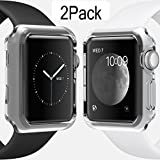 For Apple Watch Case 42mm CAseHQ Thinnest Most Lightweight Screen Protector Case Cover TPU Slim All-around Protective Cases Fit for Apple Watch / Watch Sport / Watch 2015(42mm) Crystal Clear 2Pack