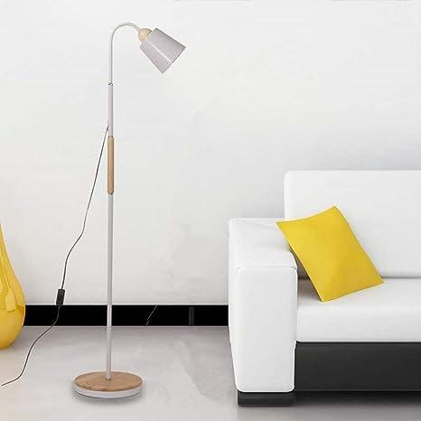 ELINKUME Lámpara de Pie Moderna LED de Hierro Blanco Scrub Sombra Estable y Gruesa Base de Registro único Diseño de la Personalidad de Lectura Lámpara ...