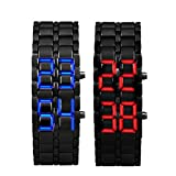 ABC® 2x Lava Style Iron Samurai Black Bracelet LED Japanese Inspired Watch RED / BLUE