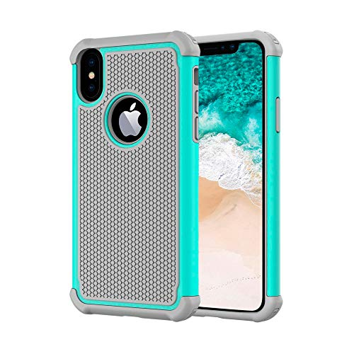 AGRIGLE Hybrid Heavy Duty Protection Shockproof Defender Anti-Scratch Soft Rubber Bumper Cover Case Compatible with iPhone X 5.8 inch (2018) (Teal) -