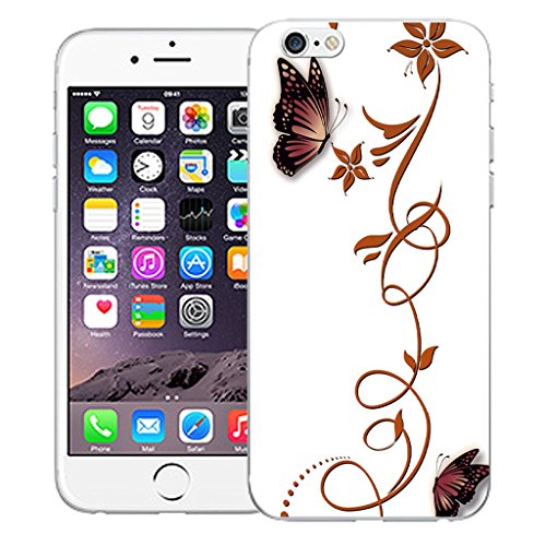 "Mobile Case Mate iPhone 6S Plus 5.5"" Silicone Coque couverture case cover Pare-chocs + STYLET - Butterfly Vine pattern (SILICON)"