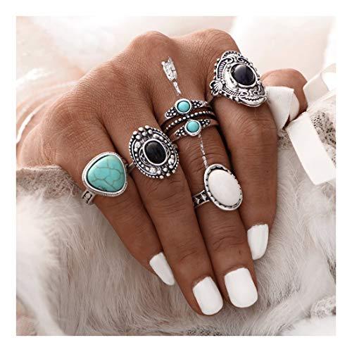 ♫VANSOON♫ Ring, 2019 New 5pcs/Set Women Bohemian Vintage Silver Stack Rings Above Knuckle Blue Rings Set