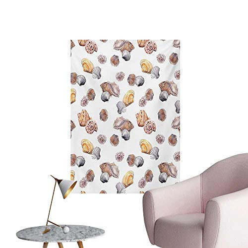 Anzhutwelve Seashells Wall Paper Shell Pattern Seashore Holiday Journey Illustration Marine BackdropMauve Marigold Tan White W24 xL36 Custom Poster