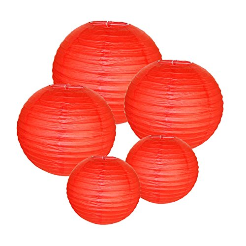 Just-Artifacts-RED-ChineseJapanese-Paper-Lanterns-Assorted-2-8inch-2-12inch-1-16inch-Click-for-more-colors