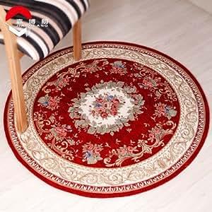 LY & HYL antideslizante alfombra dormitorio Mats redonda la sala de estar mesa de café ottomans Rugs ordenador Pad, rojo vino
