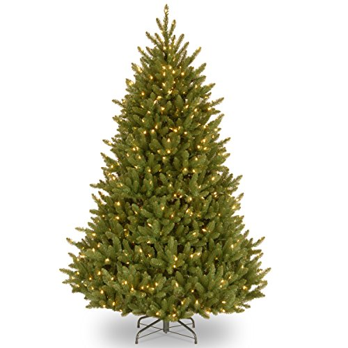 National Tree 7.5 Foot Natural Fraser Fir Tree with 750 Clear Lights, Hinged (NAFFMH7-75LO) ()