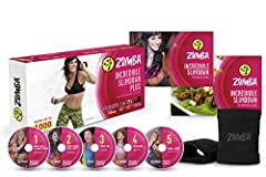 INCREDIBLE SLIMDOWN CARDIO DANCE SYSTEM DANCE YOURSELF FIT AND BURN UP TO 1000 CALORIES  The weight is over! Zumba Fitness brings the party home with the Incredible Slimdown DVD System featuring 5 DVDs, Sole Control Wraps, a Program Guide, an...
