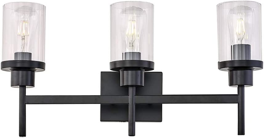 Amazon Com Yaohong 24 Wide 3 Light Modern Vanity Bathroom Light With Clear Glass Shade In Black Industrial Wall Mount Lamp For Bedroom Stairs Hallway Kitchen Vanity Mirror Home Improvement