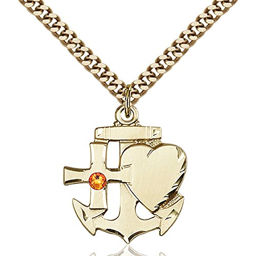Gold Filled Faith Hope & Charity Pendant with 3mm November Yellow Swarovski Crystal 7/8 x 3/4 inches with Heavy Curb Chain by Bonyak Jewelry Saint Medal Collection