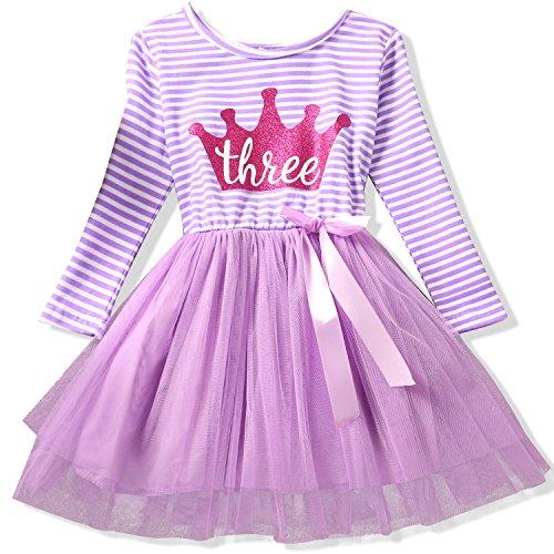 NNJXD Girl Shinny Stripe Baby Girl Long Sleeve Printed Tutu Dress Size (100) 2-3 Years Gold&Light Purple for $<!--$14.49-->