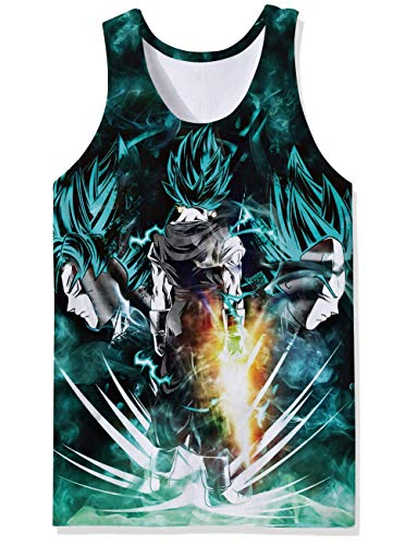 Skateboard Tank - 3D Prints Stringer Tanks Top 1990s Men's Designer Tees Shirt Super Dragon Ball Anime Comic Videos DBZ Characters Hilarious Vest Singlet Jersey for Summer Beach Surf Skateboard