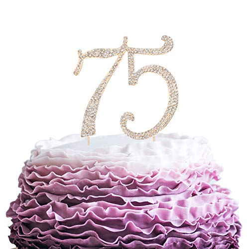 LINGPAR 75 Years Birthday Cake Topper - New Best Crystal Rhinestone 75th Wedding Anniversary Or 75 Years Old Cake Topper Party Decoration Gold