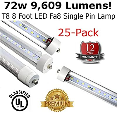 T8 LED 8 Foot Lamp Fa8 Single Pin 9,609 Lumens (Case of 25) - 12 Year Warranty