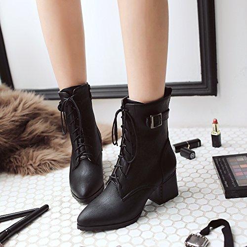 Oxford Shine Heel Up Boots Black Show Chunky Lace Casual Women's xOwFSqd0q