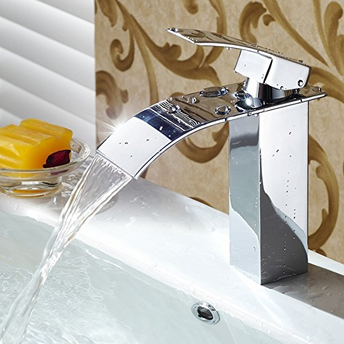 Hlluya Wasserhahn für Waschbecken Küche Waschbecken Wasserhahn Kupfer EinlocHöheißen EinlocHöheißen EinlocHöheißen und kalten Becken mond Wasserfall Wasserhahn Bend 42388b