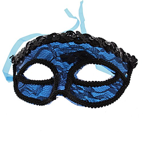 (Zac's Alter Ego® Lace Masquerade Mask with Sequin Outline Royal)