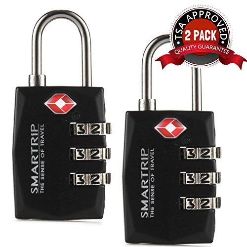 Smartrip TSA Lock Heavy Duty 3 Digit Combination Luggage and Travel Padlock (2-PACK)