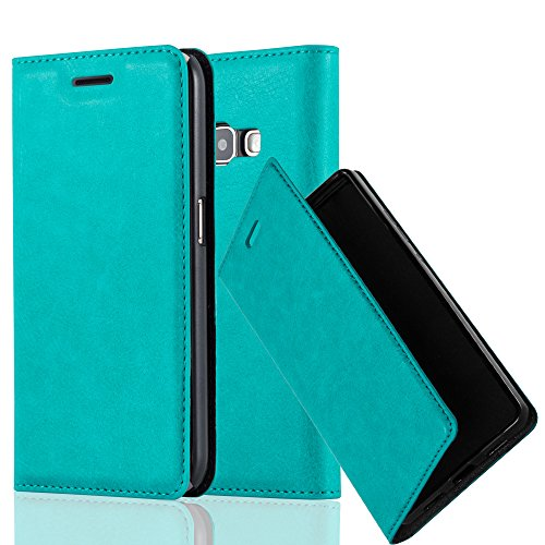 Cadorabo Case works with Samsung Galaxy J1 2016 (6) Book Case in PETROL TURQUOISE (Design INVISIBLE CLOSURE)  with Magnetic Closure, Stand Function and Card Slot  Wallet Case Etui Cover PU Leather