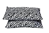 Standard, Zebra Print - 4'' Hems Set of 2 Pillowcases 400 Thread Count 100% Long Staple Cotton Luxury Hotel Quality Printed
