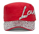 Womens Love Embellished Cadet Cap - Red