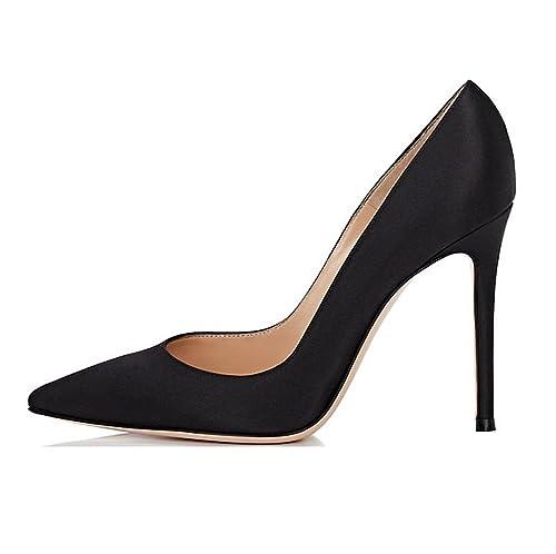 Sammitop Women s Pointed Toe Satin Pumps Slip On High Heel Wedding Dress Shoes  Black US5 86d3084e98cb