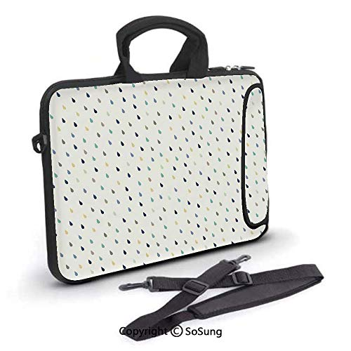 15 inch Laptop Case,Saturated Spherical Teardrop Shaped Rain Water Droplets Particles Design Fusion Image Neoprene Laptop Shoulder Bag Sleeve Case with Handle and Carrying & External Side Pocket,for N