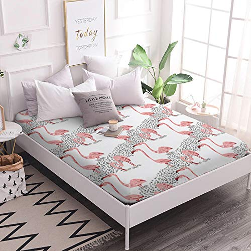 ARL HOME Full Size 1Piece Fitted Sheets Catroon Rainforest Flamingo Bedding Sets Animal Pattern Deep Pocket for Teens and Adult Festival Gift Bed Sheets 100% Microfiber Fabric ()