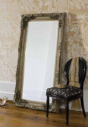Louis Xtra-Large Full Length Shabby Chic Vintage Leaner Mirror In Silver or White 35in x 71in by Barcelona Trading by Barcelona Trading