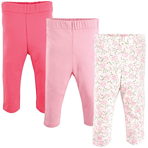 Luvable Friends Baby Girls' Leggings, 3 Pack, Pink Rose, 9-12 Months (12M) (Best Friend Rose Color)